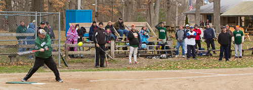 Jeff Pype at bat during last year's Voima Boys' First Game photo.